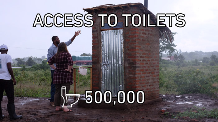 In 2016, more than 500 000 people got access to toilets.