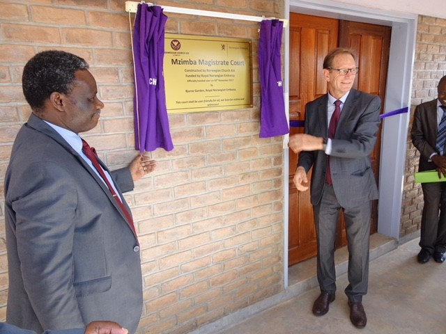 Supreme Court Judge Mzikamanda and Deputy Ambassador Garden opening Mzimba Magistrate Court​