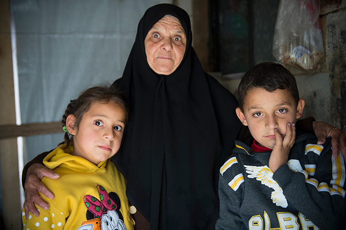 Shahed (6) and Faras (8) Alkholid live in a refugee settlement in Bar Elias with their grandmother Minawar Horani. Their mother and father were killed by barrel bombs in Syria. Photo: Håvard Bjelland.