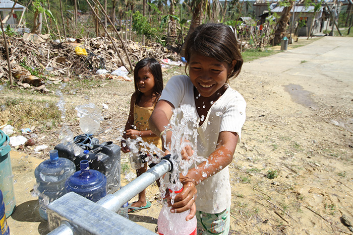 NCA responded quickly when the typhoon struck the Philippines and established safe water points.