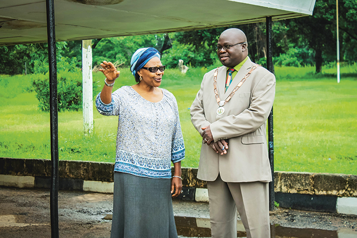 General Secretary in the Council of Churches in Zambia (CCZ) Suzanne Matale and the mayor of Mufulira Town in Zambia, Mr. Thompson Ngulube. CCZ has supported the Kankoyo community in Mulfira to successfully advocate for reduced negative health and environmental effects of the mining. Photo: Bellah Zulu/Norwegian