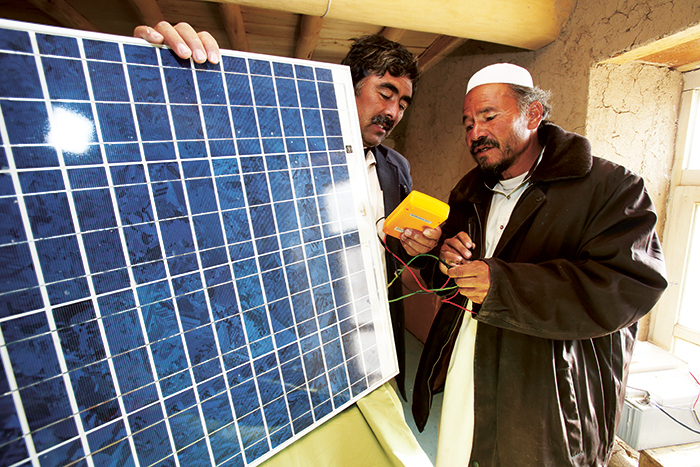 Ali Jan Barefoot Solar Engineer (BSE) receiving solar engineer training in 2012. He was responsible for the repair and maintenance of 150 solar panels in Palij Village, Daikundi province, Afghanistan. Photo: Jim Holmes/Norwegian Church Aid